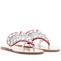 LEATHER SANDALS WITH EMBELLISHED HEART
