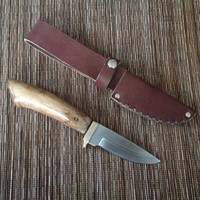 Handy knife with maple wood handle, leather sheath with belt loop