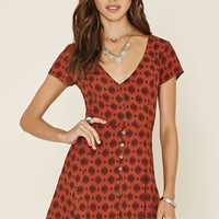 Medallion Buttoned Mini Dress | Forever 21 - 2000178241