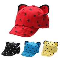 Baby Caps Cute Cat Ears Baby Baseball Cap For Children Cartoon Peaked Cap Black Blue Red Yellow Hats For Boy Girl