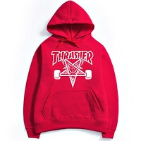Thrasher Autumn and winter skate tide brand dead fly west coast hip-hop Harajuku Fleece Hoodie Red