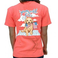 Southern Attitude Preppy Young Wild Free USA Puppy T-Shirt