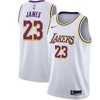 Men's Los Angeles Lakers LeBron James Nike White Swingman Jersey - Best Deal Online