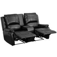 Flash Furniture Allure Series 2-Seat Reclining Pillow Back Black Leather Theater Seating Unit with Cup Holders [BT-70295-2-BK-GG]