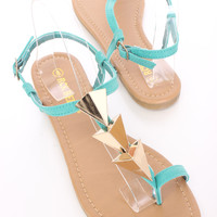 Teal High Polished Pyramid Slingback Sandals Faux Leather