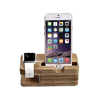 iPhone and iWatch Docking and Charging Station in Natural Wood