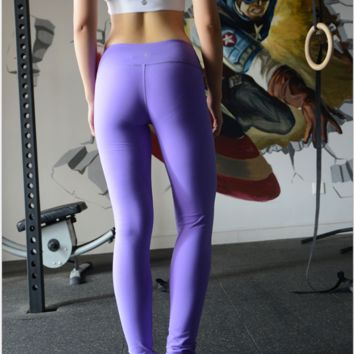 """lululemon"" Fashion Print Exercise Fitness Gym Yoga Running Leggings Sweatpants Purple"