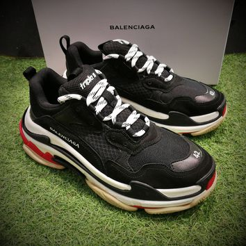 Best Online Sale Fashion Balenciaga Triple-S Sneaker 17FW Black White Red Casual Shoes 656686W06G011001
