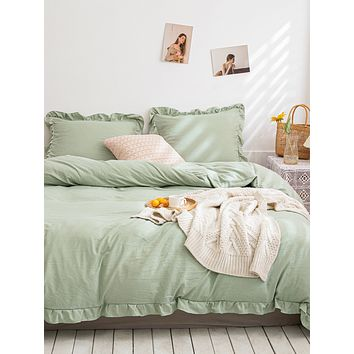 Ruffle Trim Bedding Set Without Filler