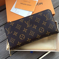 Louis Vuitton LV Classic Women Leather Zipper Wallet Purse Clutch Bag Coffee lv print