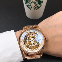 DCCK P010 Patek Philippe Geneve Automatic Machinery Hollow Steel Strap Watches Rose Gold White
