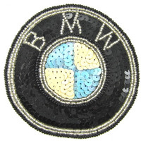 "BMW Emblem with Black Lite Blue and Cream Sequins 3.5"" X 3.5"""