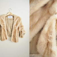 Winter Beauty - Vintage 1950s Golden Champagne Mink Real Fur Shawl Coat Wedding