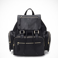 Pocket Faux Leather Backpack