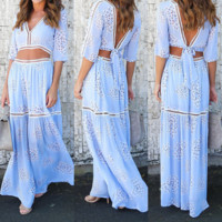Sexy hollow out v-neck two-piece outfit