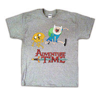 ADVENTURE TIME Fin and Jake Unisex Grey T-Shirt Cartoon Network Tee Shirt