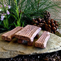 Fairy Picnic Table and 2 Benches  / Fairy Garden Supplies / Miniature Fairy Furniture / Unique Gift