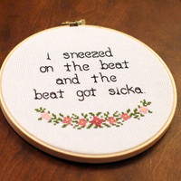 Beyonce Partition Cross Stitch- Sneezed on the Beat & the Beat Got Sicka