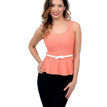 Coral Pink Heart Cut Out Belted Sleeveless Textile Knit Peplum Top