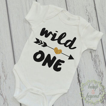 Wild One Shirt Wild One Arrow Shirt Girl Kids Shirt Glitter Arrow Shirt First Birthday Shirt Girl Clothes 048