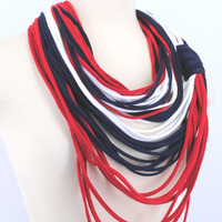 Red Navy White New England Patriots Houston Texans OOAK Infinity scarf Loop Circle Noodle Scarf Necklace jersey shirt multi strand