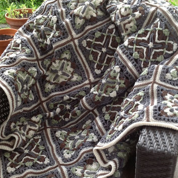 Not Your Granny's Squares Patchwork Acrylic Yarn Crochet Blanket
