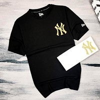 MLB 2019 new gold line NY letter casual short-sleeved T-shirt Black