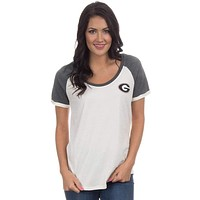 University of Georgia Vintage Tailgate Tee in White and Heathered Grey by Lauren James