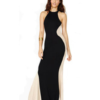 Lycra Contrast Back Maxi Dress