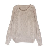 Ninimour- Women's Long Sleeve Round Neck Knit Loose Pullover Sweater