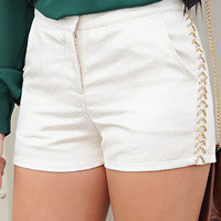 Look At The Stars Shorts: Ivory/Gold