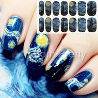 1 Sheet Nail Wraps Mysterious Starry Sky Night Patterned Full Nail Sticker #18954