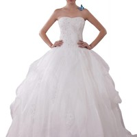 GEORGE BRIDE Luxury Tull Over Satin Ball Gown With Tiered Organza Wedding Dress Size 14 Ivory