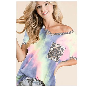 CLOSEOUT! Call Me Adorable! Leopard Accent Tie Dye V Neck Top