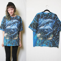 90s Oversized Dolphin Ocean Wonderland Washed Out Blue Tie Dye T Shirt // Grunge Dolphon Shirt // 90s T-shirt // Y2k // All Over Print