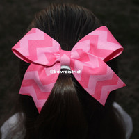15 Two Tone Pink Chevron Hair Bow by BowDistrict on Etsy