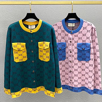 GUCCI Jacquard knitted cardigan contrast metal button sweater coat
