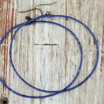 Dazzling Blue Hoops - BOLD Three Inch Blue Hoops - Boho Chic - Spring Fashion - Bold Fashion - Starry Night Collection
