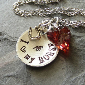 Crystal Heart-Hand stamped Horse Necklace-Sterling Silver for Equestrian or Horse Lover.
