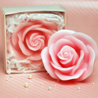 Cute Handmade Pink Rose Candle