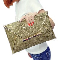 Gold Sequins Envelope Clutch