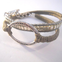 Fawn brown crochet and Chan Luu Style with silver squares over grey round leather. A Double Wrap Bracelet