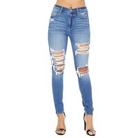 Bella Stretchy High Waist Distressed Jeans
