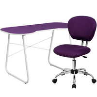 Flash Furniture Purple Computer Desk And Mesh Chair