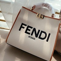 Fendi Peekaboo canvas kitten bag rainbow shoulder strap shoulder bag crossbody bag