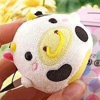 Lovely Round Cow Plush Doll Cell Phone Cleaner Strap (White and black)