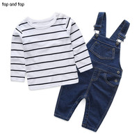 Autumn style infant clothes baby clothing sets  boy Cotton 2pcs Long sleeve t-shirt + overalls  baby boy clothes newborn