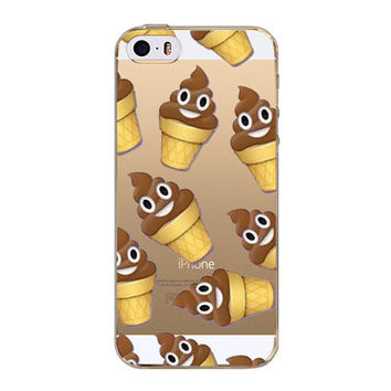 Luxury Cartoon Smiley Face Facebook Poop Emoji Ice Cream Cone Emoticons Painted Soft TPU Clear Silicon Back Case Cover For Apple iPhone 5 5s SE