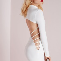 Missguided - Crepe Long Sleeve Back Detail Bodycon Dress White