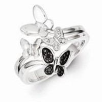 Sterling Silver White & Black Diamond Butterfly Ring